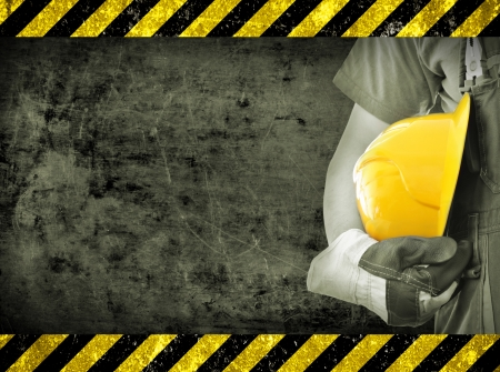 Worker and grunge texture in background  Concept of OSH  occupational safety and health