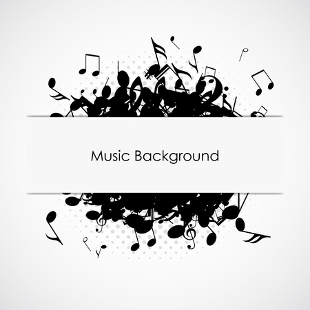 Abstract music background with notes, vector illustration