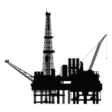 Silhouette of oil platform, vector illustration