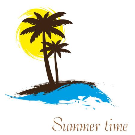 Illustration pour Sunset and palm trees on island, vector illustration - image libre de droit