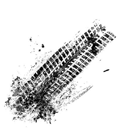 Illustration pour Grunge black tire track on white background, vector illustration - image libre de droit