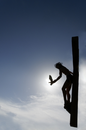 Dove of peace being sent into the world by Jesus as he hung on the cross.