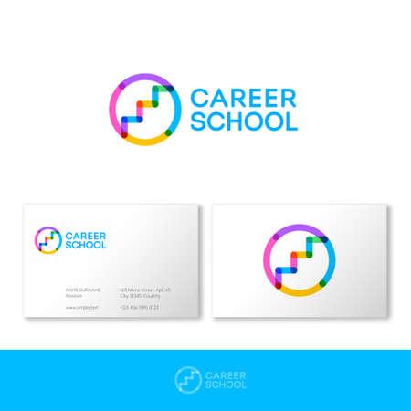 Illustration pour Career school logo.HR logo. Career services logo. Stairs up on circle consist of transparent elements. Human resources management. - image libre de droit