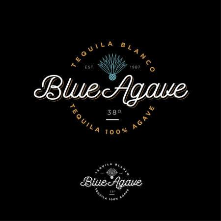 Illustration pour Blue agave tequila logo. Emblem for the label Beautiful letters and an agave icon. - image libre de droit