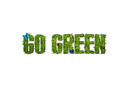 Grassy Go Green Text with Butterflies, Ladybugs, and Water Dropplets