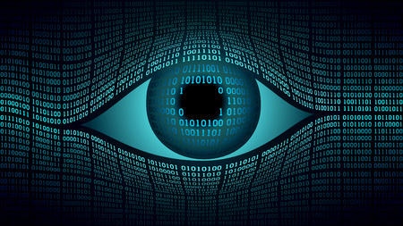 Ilustración de Big brother electronic eye concept, technologies for the global surveillance, security of computer systems and networks, high-tech computer digital technology, global surveillance - Imagen libre de derechos