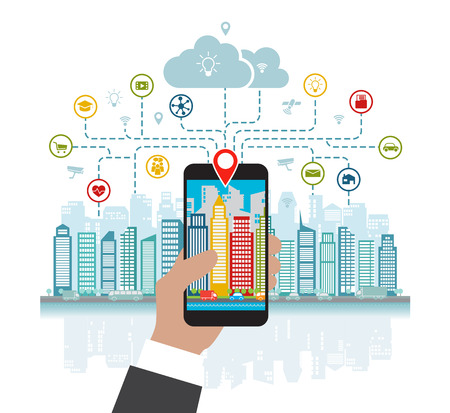 Illustration pour Smartphone in hand helps to focus in a smart city with advanced smart services, and augmented reality, social networking, location in the city - image libre de droit