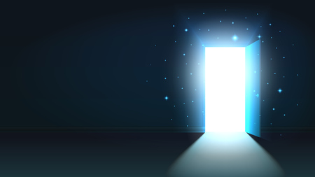 Illustration pour Light from the open door of a dark room, abstract mystical shining exit, background, open door template, mock up - image libre de droit