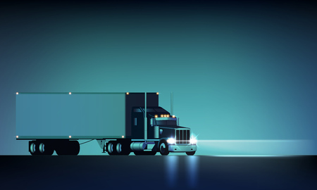 Illustration pour Night large classic big rig semi truck with headlights and dry van semi riding on the night background, vector illustration - image libre de droit