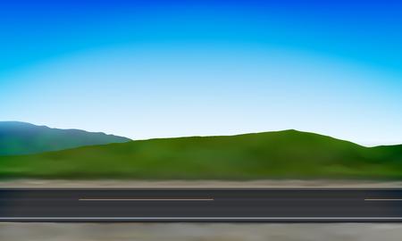 Ilustración de Side view of a road, roadside, green meadow in the hills and clear blue sky background, vector illustration - Imagen libre de derechos
