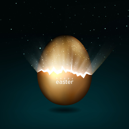 Illustration pour Broken golden easter egg giving birth to the universe. Rays of light and stars from cracks in an easter egg of gold on a dark background. Vector, creative greeting card design - image libre de droit