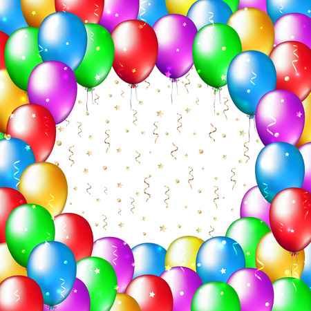 Illustration for Multicolor balloons frame on white background with place for text. Balloon decoration for celebration and party. Happy holiday background with colorful balloons. Vector greeting card - Royalty Free Image