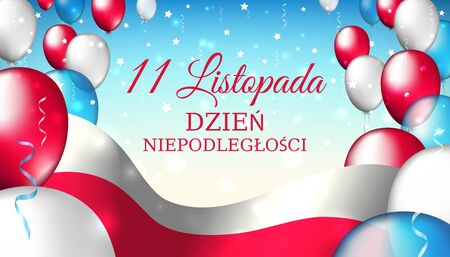 Vektor für November 11, poland independence day, vector template with the polish flag and colorful balloons on a blue starry background. Translation: November 11, Independence Day of Poland - Lizenzfreies Bild