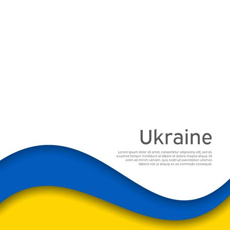Illustration for Abstract waving flag of ukraine. Paper cut style. Creative background for patriotic holiday card design. National Poster. Cover, banner in state colors of Ukraine. Vector design - Royalty Free Image