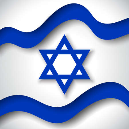 Illustration for Israel flag background. Business booklet. Colored wavy ribbons colors flag of Israel. National Poster. State Israeli patriotic flyer, banner. Paper cut style. Vector design - Royalty Free Image