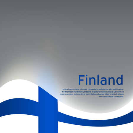 Illustration pour Finland wavy glowing flag on a gray glossy background. National poster design. State Finnish patriotic banner, flyer. Business booklet. Vector illustration - image libre de droit
