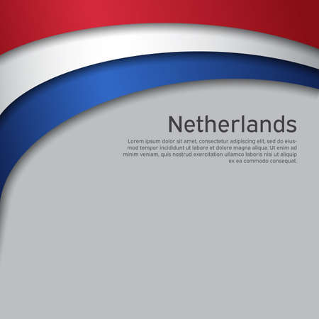 Illustration pour Abstract waving flag of netherlands. Paper cut style. Creative background for patriotic holiday card design. National Poster. Cover, banner in state colors of the Netherlands. Vector tricolor design - image libre de droit