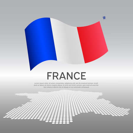 Photo pour France wavy flag and mosaic map on light background. Creative background for the national French poster. Vector tricolor design. Business booklet. State French patriotic banner, flyer - image libre de droit