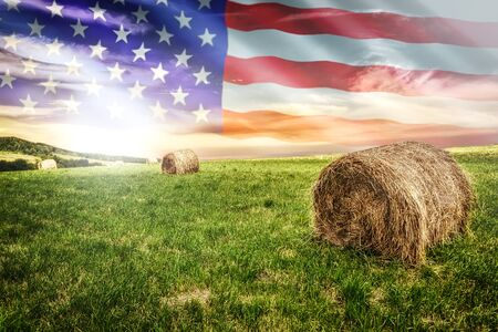 Foto de National agricultural industry concept - idyllic farm field with hay bales on on the background of the USA flag (mixed). - Imagen libre de derechos