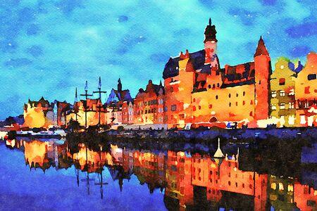 Foto de Digital art painting canvas - beautiful landscape of the old town in Gdansk over Motlawa River at dusk in Poland (watercolor effect). - Imagen libre de derechos