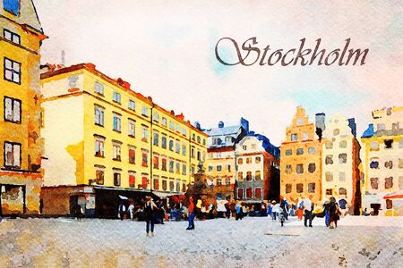 Photo pour Digital art painting canvas - colorful facade of historic patrician houses in Stortorget Square in  the Old Town of Stockholm in Sweden with tourists (watercolor effect) - image libre de droit