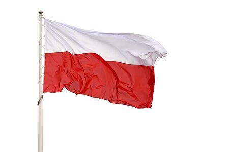 Photo pour National flag of Poland waving on a white background  - image libre de droit
