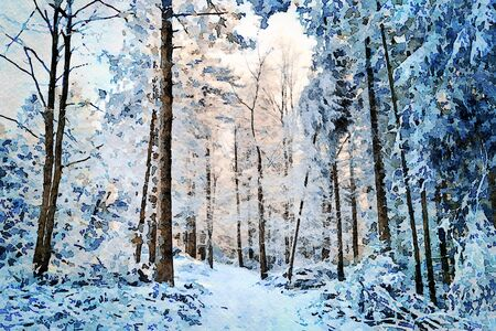 Photo for Digital art painting canvas - beautiful winter landscape: white and snowy pathway among trees in a deep forest on a sunny and cold day. - Royalty Free Image