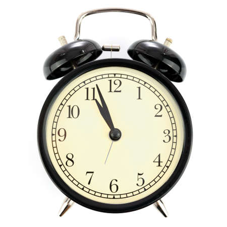 Photo for Classical retro alarm clock isolated on a white background with no shadows in close-up - Royalty Free Image