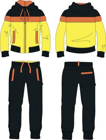 Illustration pour man suit set zipper hoodie jacket joggers pants yellow template - image libre de droit