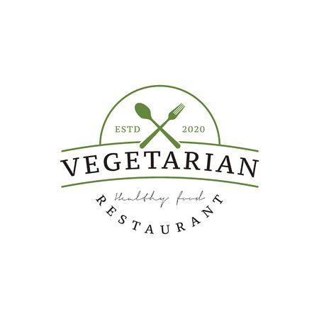 Illustration pour Spoon Fork Knife for Vegan Restaurant Bar Bistro Vintage Retro Logo design vector - image libre de droit