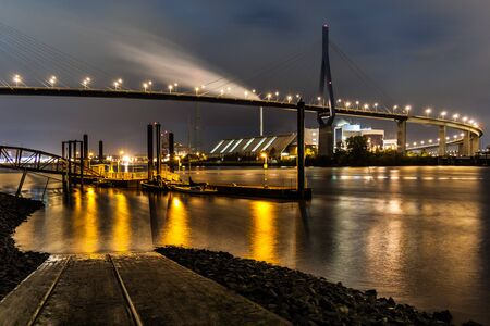 The Köhlbrand Bridge, the landmark in the Port of Hamburg at night.