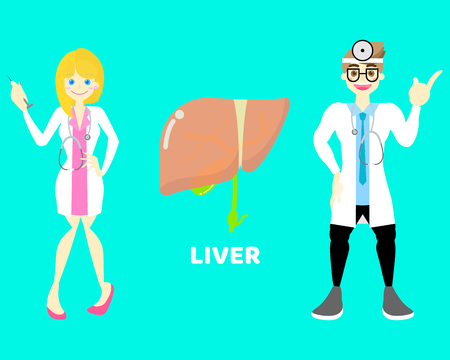 male and female doctor with liver, internal organs anatomy body part nervous system, background, vector illustration cartoon flat character design clip art