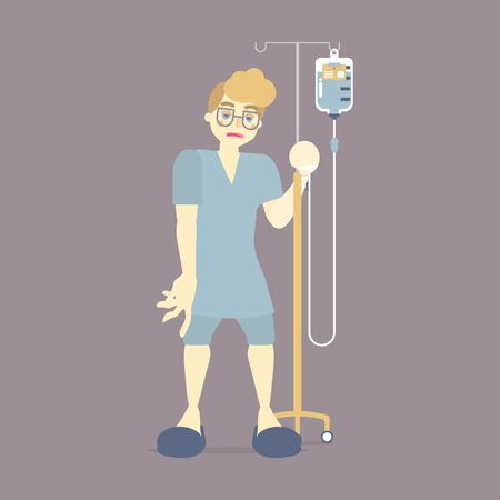 Illustration pour sad male patient holding IV (intravenous) stand with blood, saline solution drip bag, surgery, health care concept, flat vector illustration character cartoon design - image libre de droit
