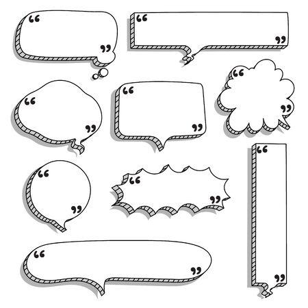 Foto de collection set of hand drawn 3D blank speech bubble balloon with quotation marks and shadow, black and white color, flat design vector illustration - Imagen libre de derechos