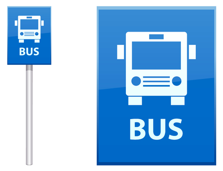 Bus Stop sign post vector icon