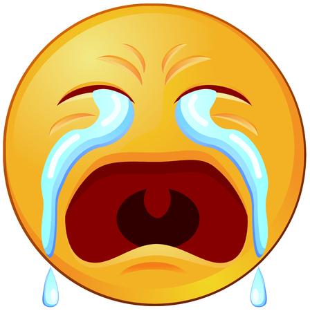 Illustration pour Crying emoji or emoticon vector icon - image libre de droit