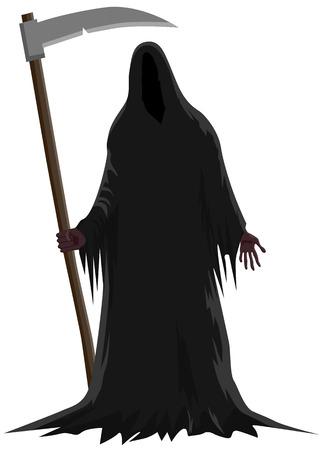 Illustration pour Death standing holding a scythe vector icon - image libre de droit