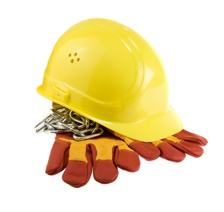 Yellow hard hat, protective gloves and steel chain isolated