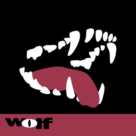 Illustration pour Wolf fangs teeth vector illustration style Flat - image libre de droit