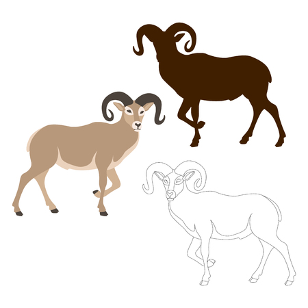 7d17d0768 Ram sheep vector illustration style Flat black silhouette