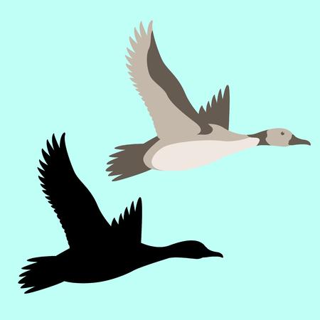 Ilustración de goose  vector illustration flat style  set black silhouette - Imagen libre de derechos