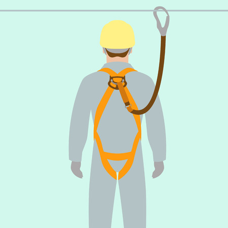 Illustration pour worker climbing safety belt vector illustration flat style - image libre de droit