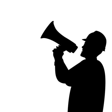 Illustration pour work with a megaphone vector illustration  blacl silhouette profile side - image libre de droit