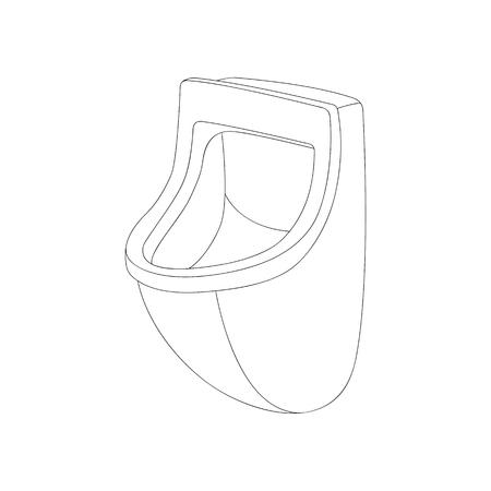 Ilustración de ceramic  urinal   vector illustration  lining draw  front side - Imagen libre de derechos