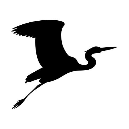 Ilustración de heron  flying, vector illustration ,  black silhouette , profile view - Imagen libre de derechos