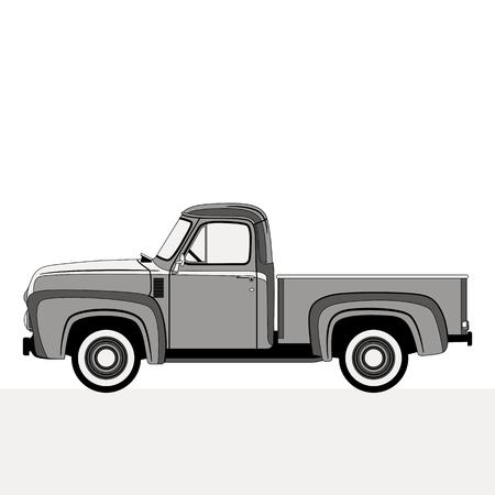 Illustration for pickup, vector illustration , flat style,profile side - Royalty Free Image