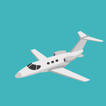 Illustration for jet airliner, vector illustration ,flat style, side view - Royalty Free Image