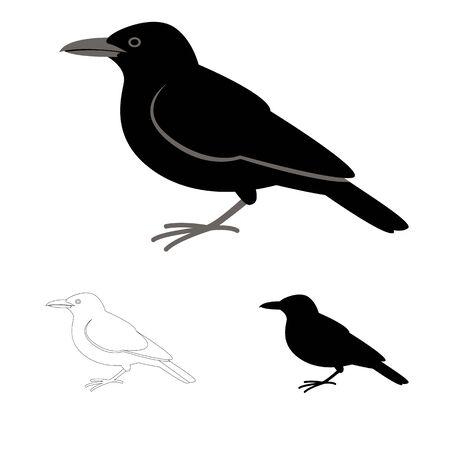 Illustration pour crow bird, flat style black silhouette, lining draw set - image libre de droit