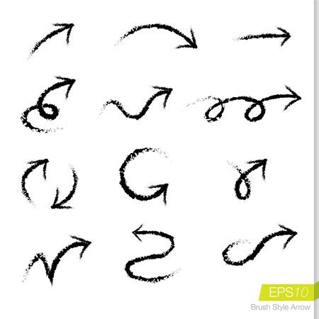 Set of doodle rough bursh arrows, Design element for business presentation.