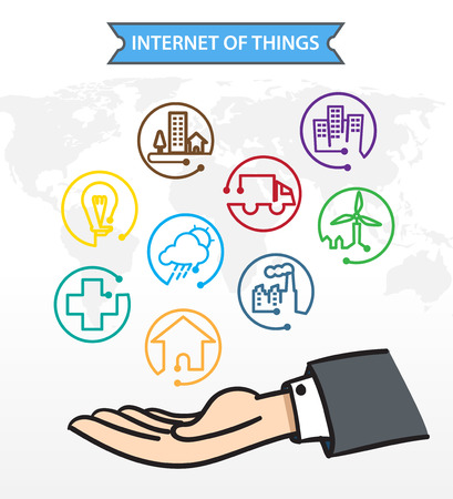 Business man Open hand with icon about Internet of things IoT Connection Concept